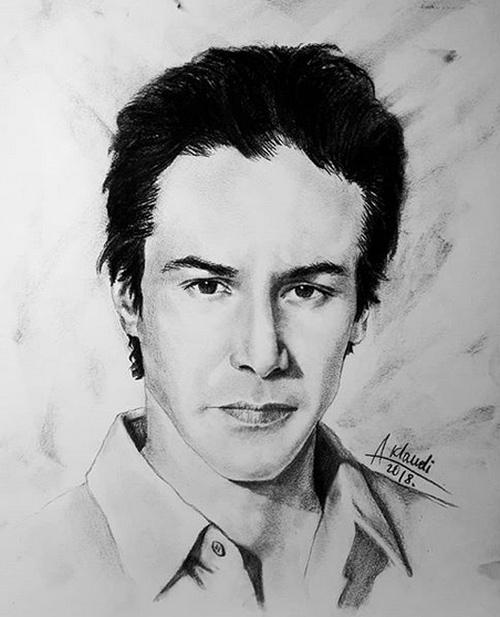 Киану Ривз поблагодарил белорусскую художницу Александру Клавдиеву за нарисованный портрет (2 фото)