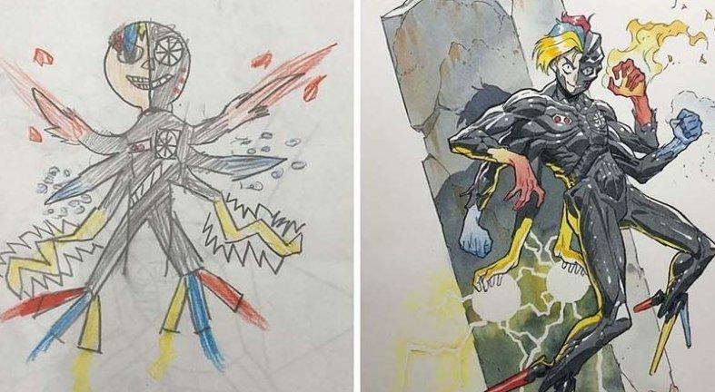 Папа превращает каракули своих сыновей в удивительных аниме-персонажей (28фото)