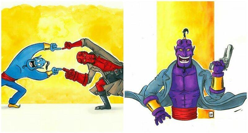 Художница соединяет двух разных персонажей воедино, получая новых героев (27фото)