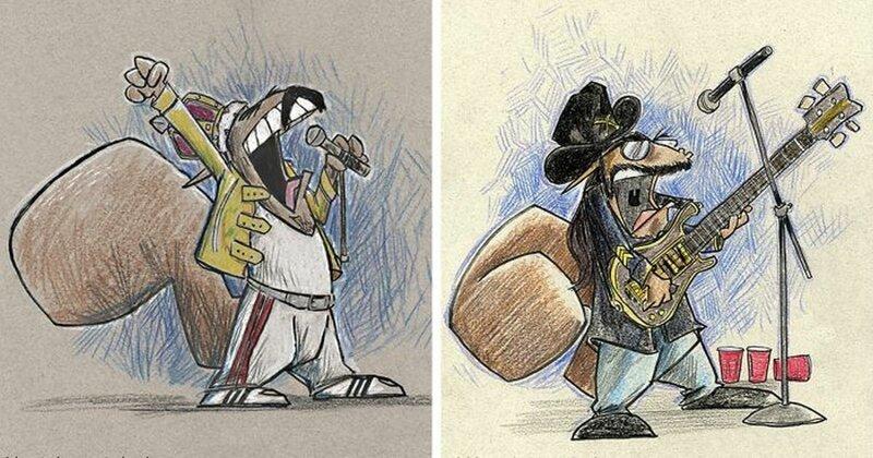 Карикатурист нарисовал известных музыкантов в образе белок (39фото)