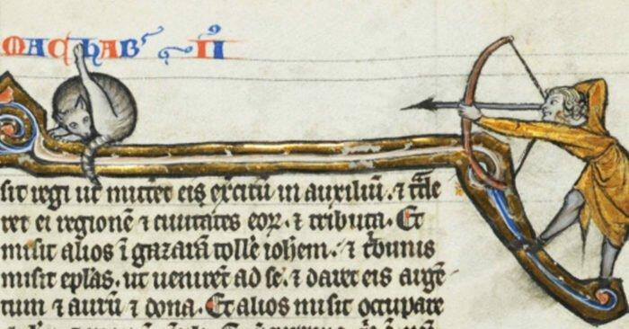 В сети заметили, что средневековые художники часто рисовали кошек. Но почему-то за одним и тем же (11фото)