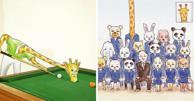 Художник из Японии показал, насколько сложной была бы жизнь жирафов в мире людей (31фото)