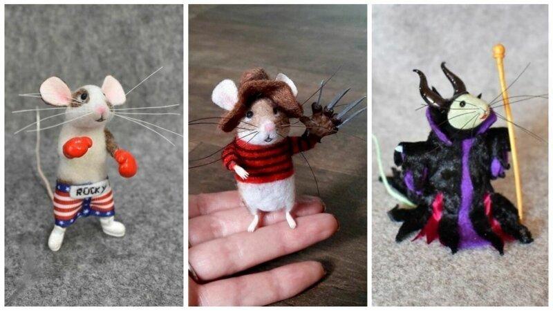 Войлочный мир: игрушечные мышки в образе известных персонажей (23фото)