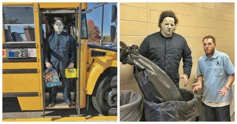 Учитель заявился в школу в образе Майкла Майерса и устроил забавную фотосессию (32фото)