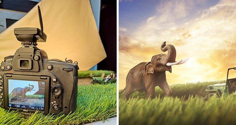 Фотограф использует в своей работе миниатюрные фигурки людей и животных (10фото)