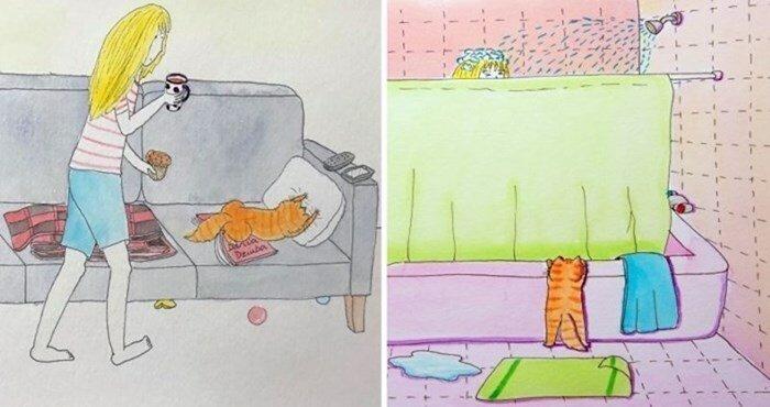 25 иллюстраций, которые показывают забавную жизнь с кошками (26фото)
