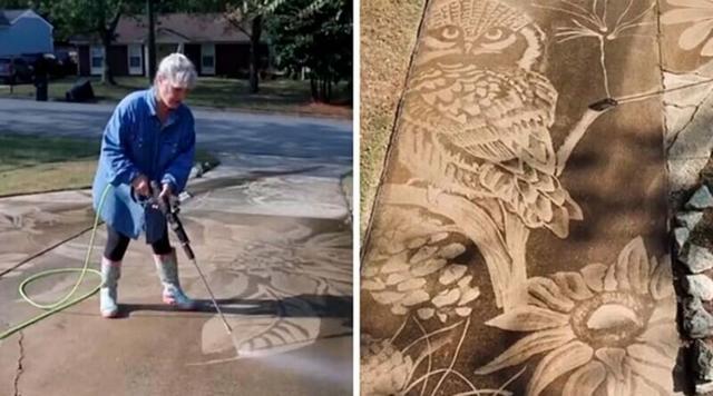 Американка рисует на асфальте с помощью мойки высокого давления (7 фото)
