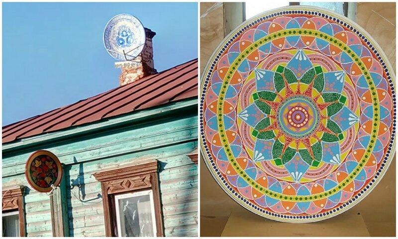 Пенсионер из Иваново необычно расписывает спутниковые тарелки (13фото)