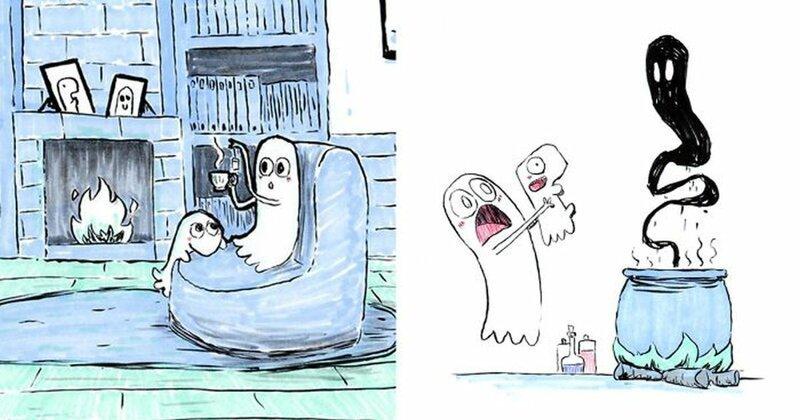 Веселые картинки: приключения маленького призрака и его милого пса (35фото)
