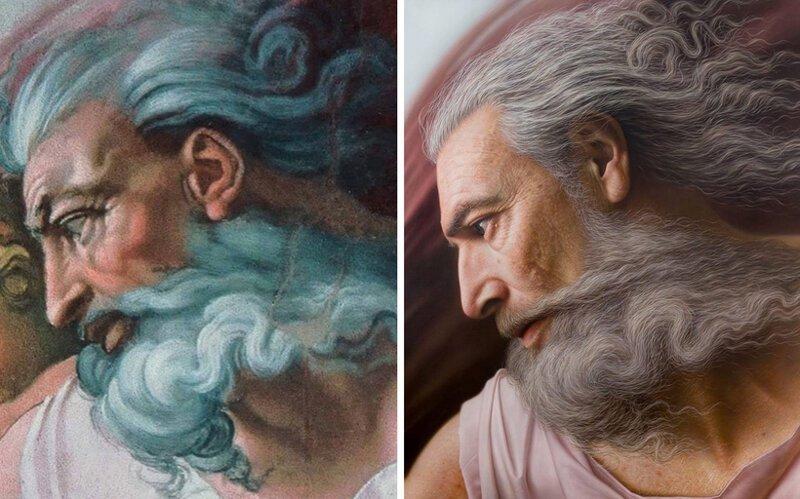 Художник превращает античные бюсты и картины в гиперреалистичные портреты (9фото)