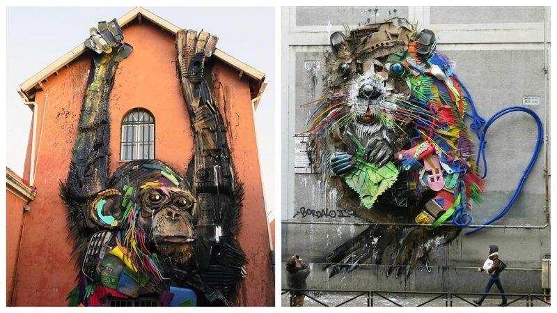 Художник создает огромные фигуры животных из мусора (31фото)