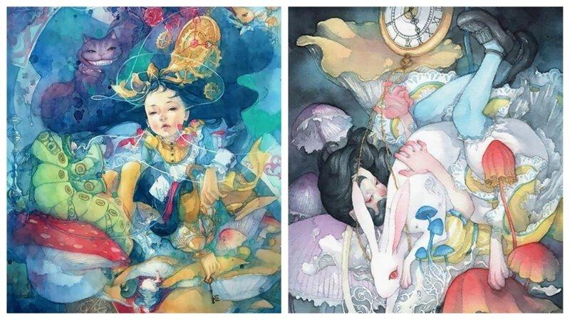 Алиса в японской Стране чудес: великолепные акварели Таупе Суюка (24фото)
