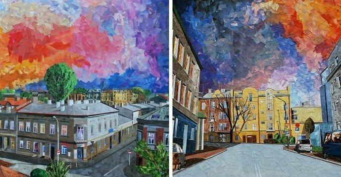 Бумажная живопись: Городские пейзажи, похожие на картины маслом (40фото)