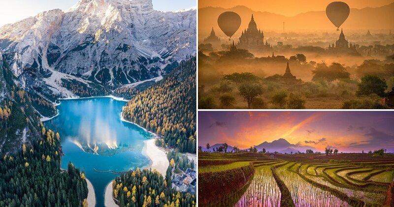 Фотоконкурс Agora 2019: горное озеро в Италии, воздушные шары над Мьянмой и рисовые поля в Индонезии (29фото)