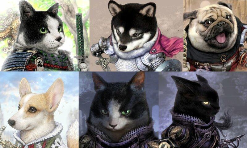 Японский художник изобразил домашних животных в роли благородных рыцарей (23фото)