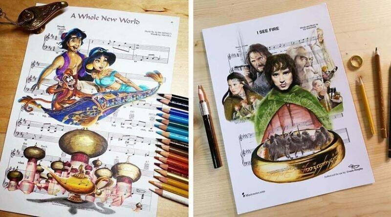 Художница использует нотные листы для создания сказочных иллюстраций (60фото)