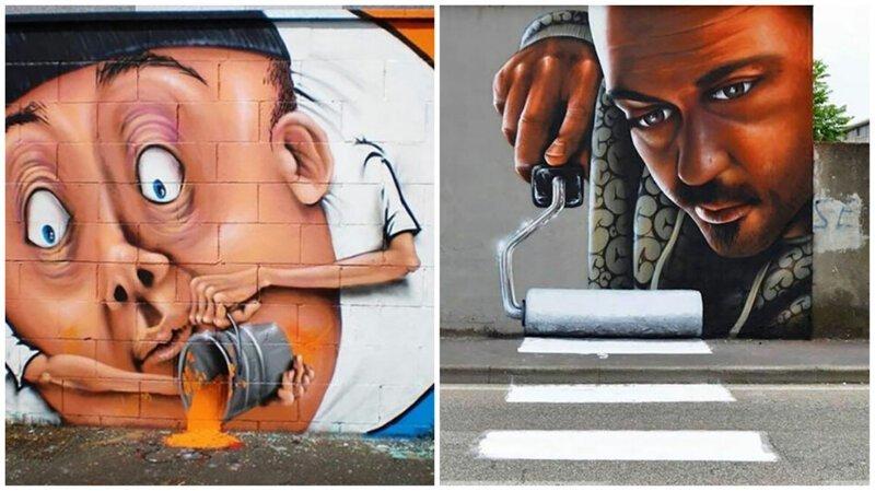 Интерактивный стрит-арт: художник вписывает 3D-картины в уличную среду (21фото)
