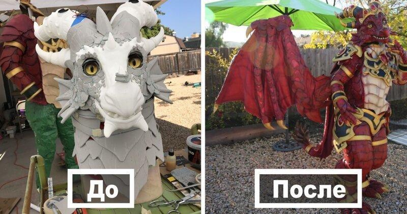 Косплейщица смастерила костюм анимированного дракона (18фото+2видео)