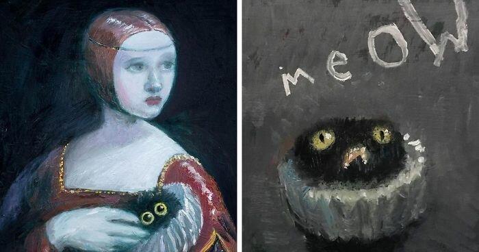 Художница дорисовала крошечного чёрного кота на знаменитых картинах (42фото)