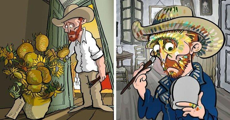 Художник нарисовал, какой он видит жизнь Ван Гога (31фото)
