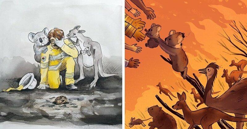 Пожар в Австралии: люди показывают свою грусть через искусство (32фото)
