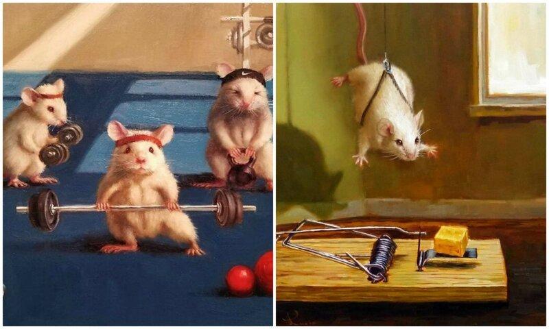 Художница рисует повседневную жизнь мышек в