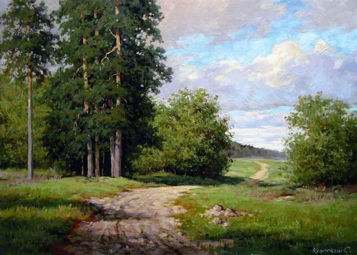 Деревенская природа на полотнах художника Сергея Крупского (17фото)