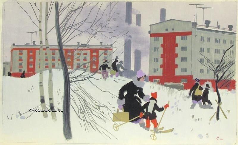 Города и сёла в советской живописи (30фото)