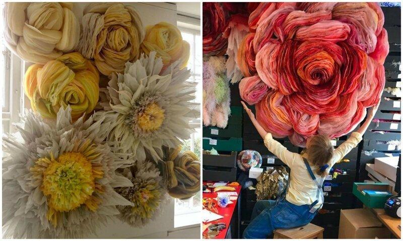 Датская художница мастерит гигантские бумажные цветы (31фото)