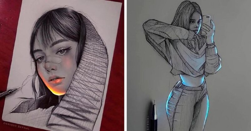 Мексиканский художник рисует на картинах свет (26фото)