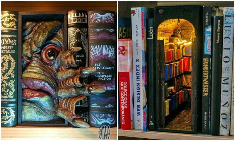 Новый тренд - вкладки для книжных полок, которые открывают завесу фантастических миров (31фото)