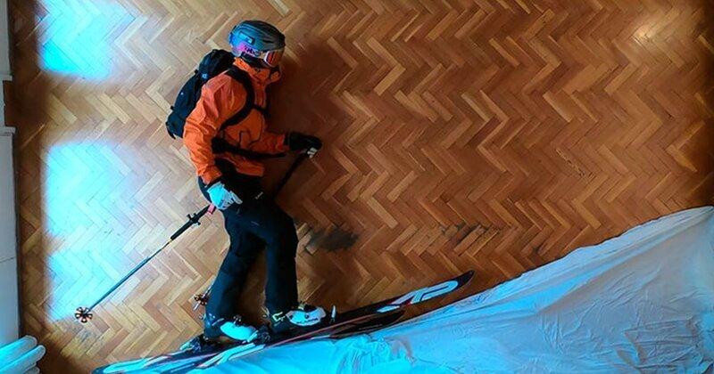 Увлеченный лыжник прокатился с горы не выходя из дома (14фото)