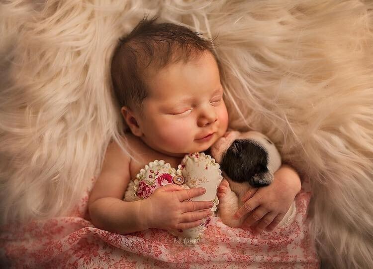 Трогательные фотографии новорожденных в обнимку с маленькими зверюшками (15фото)