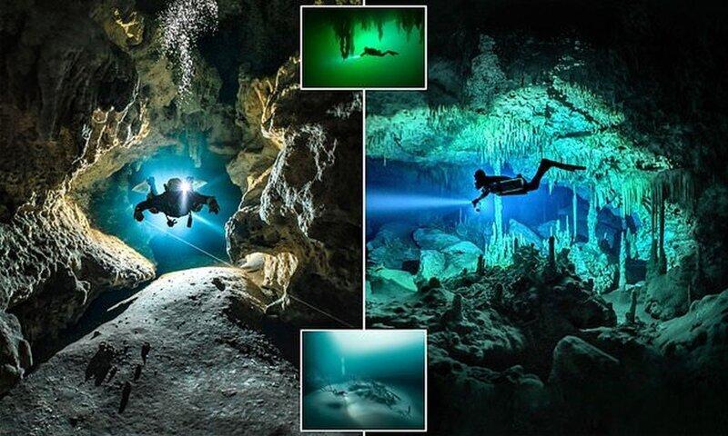 Отважный дайвер сфотографировал лабиринты подводных пещер на побережье Карибского моря (9фото)