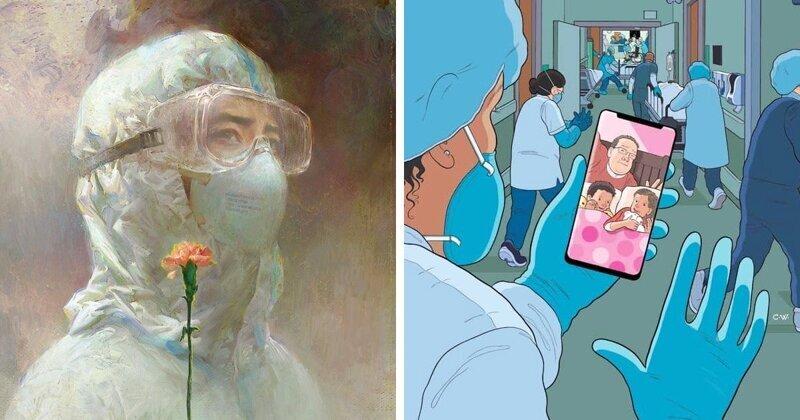 Бойцы с коронавирусом: художники нарисовали душевные картины про медиков (21фото)
