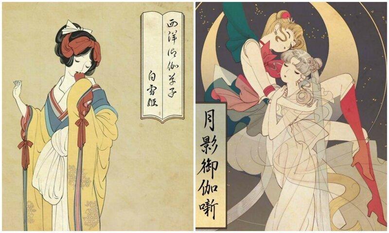 Мультяшные принцессы, нарисованные в японской технике укиё-э (7фото)