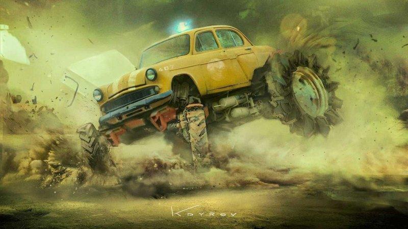 Постапокалиптические автомобили художника Данияра Кдырова (13фото)