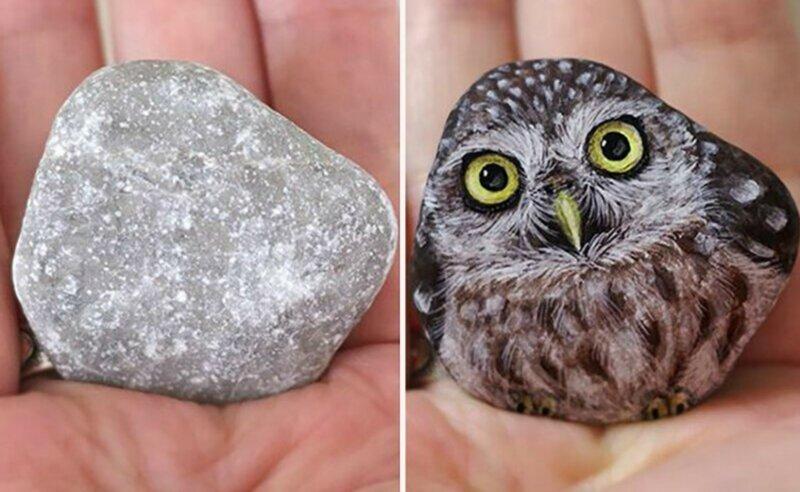 Японская художница превращает камни в милейших животных (31фото)