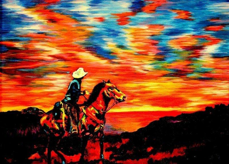 Слепой художник на ощупь создает красочные полотна (11фото)