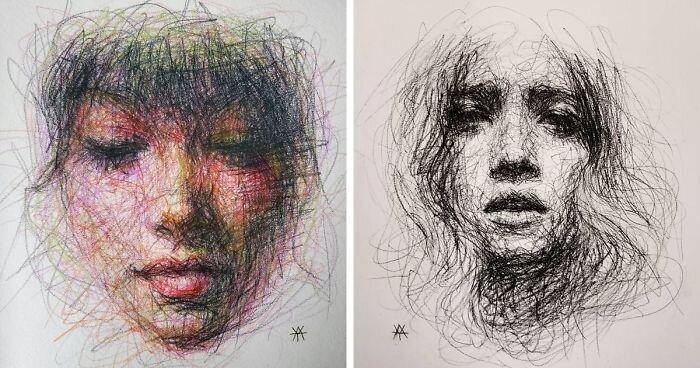 Художница создаёт женские портреты из каракуль (63фото)