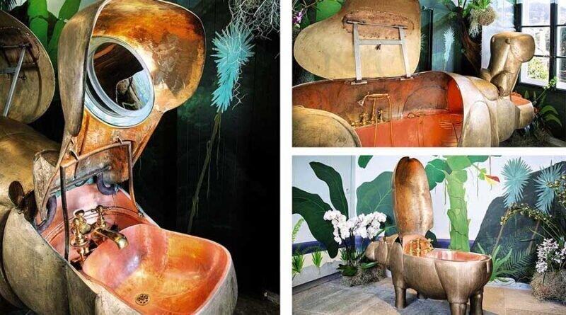 Шедевр искусствоведа: умывальник, ванна, биде и унитаз в форме бегемотов (4фото)