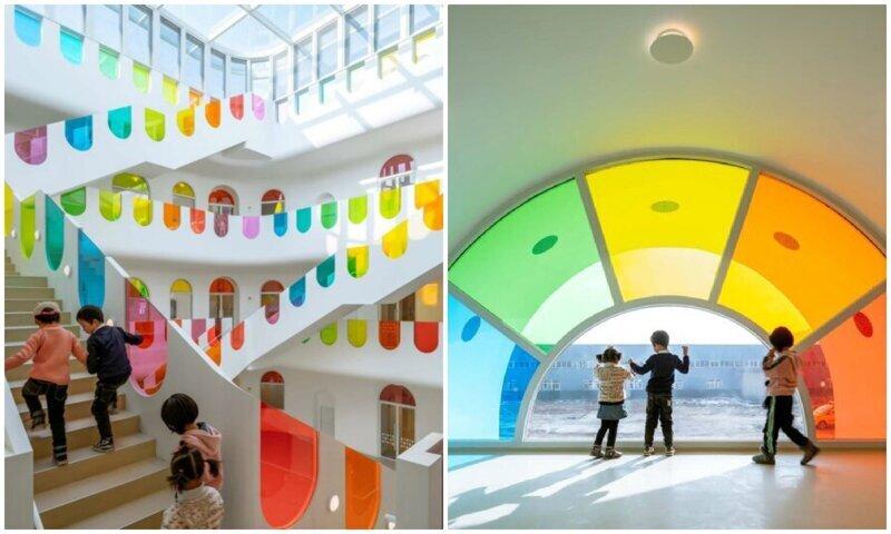 Архитекторы превратили китайский детский сад в радужную сказку (12фото)