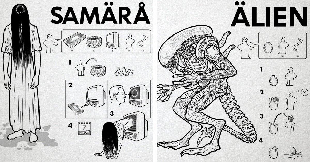 16 героев культовых фильмов ужасов в виде инструкций от IKEA (18фото)