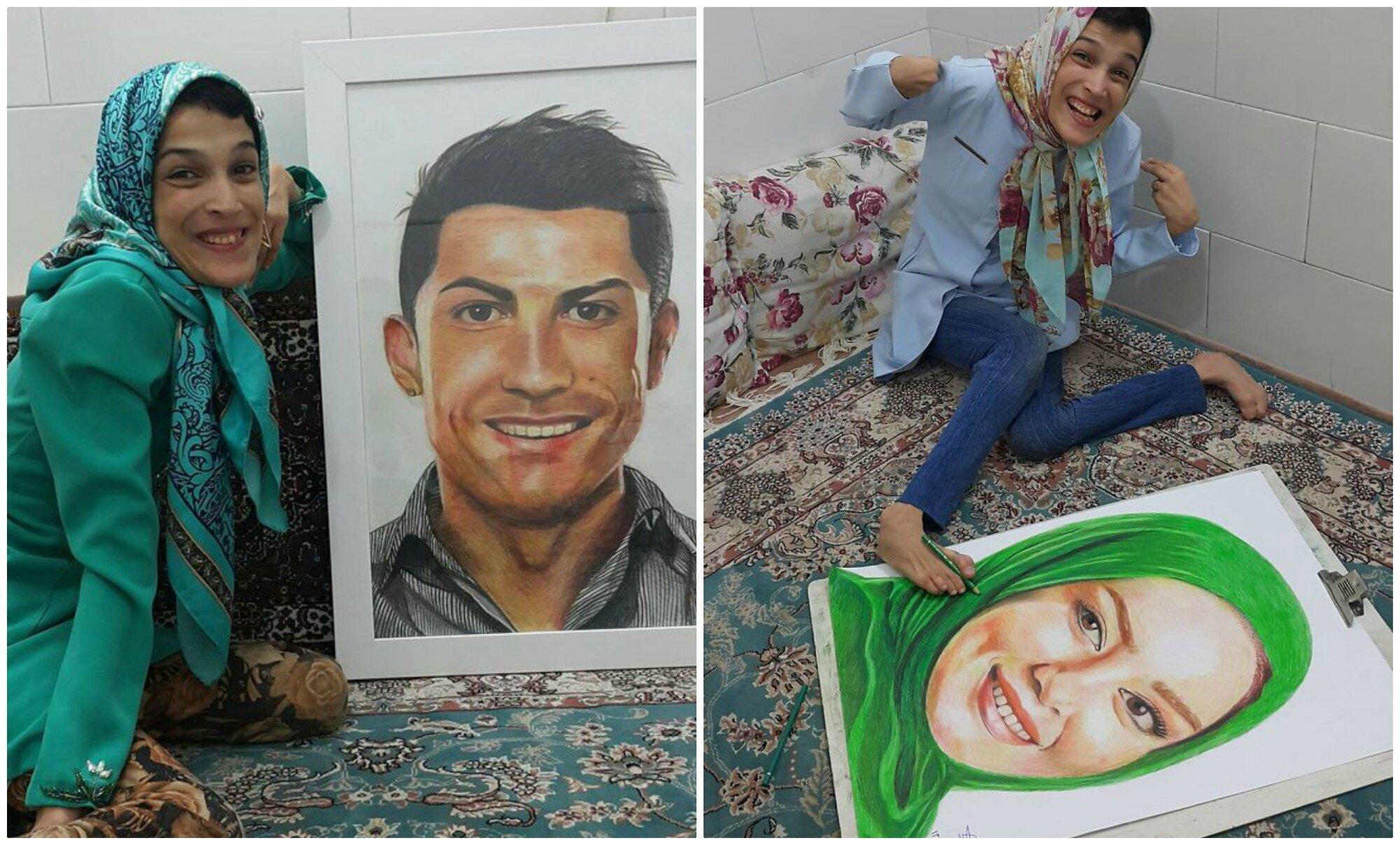 Иранская художница-инвалид рисует картины ногами (33фото)