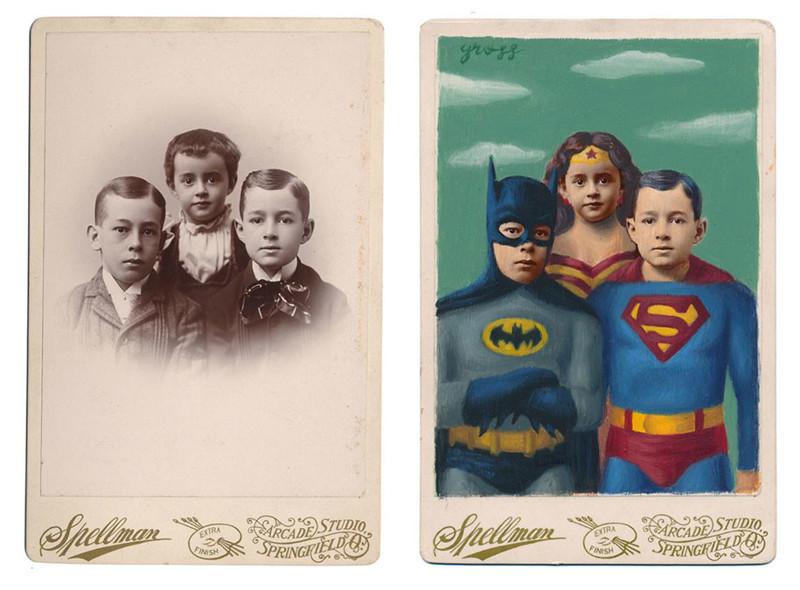 Художник превращает людей с ретрофото в персонажей комиксов и книг (19фото)