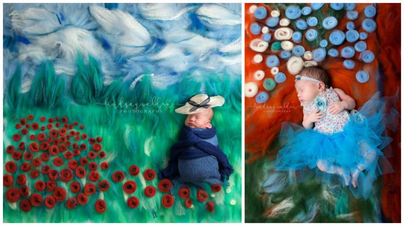 9 художественных фоновых декораций для фотосъемки новорожденных (10фото)