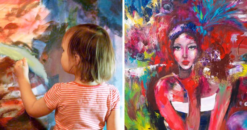 Мама дописывает картины своих дочерей, превращая их в настоящие шедевры (17фото)