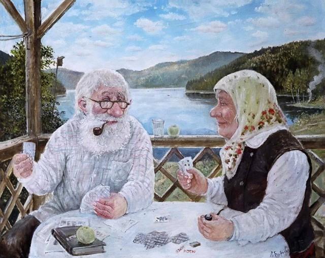 Деревенские старички в душевных картинах уральского художника Леонида Баранова (38фото)