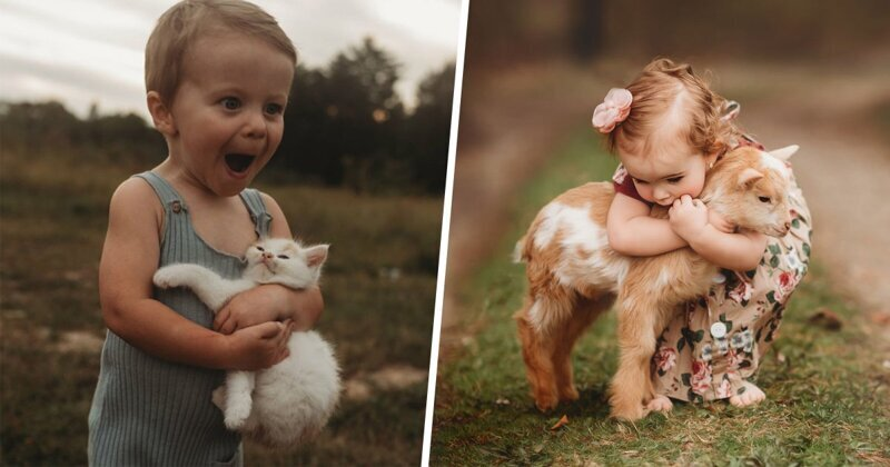 Трогательные портреты детей с животными (34фото)