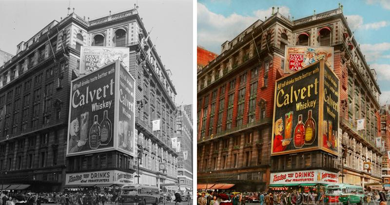Фотограф оживил черно-белый Нью-Йорк (31фото)